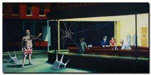 "BANKSY NIGHTHAWKES-  Pop Art QUALITY CANVAS PRINT HUGE Banner 44x24"""