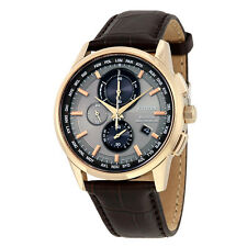 Citizen Eco-Drive Brown Leather Strap Mens Perpetual Calender Watch AT8113-04H