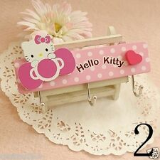Hello Kitty BOW Wall Plaque Wooden Kids Hook Pegs For Kids KK325