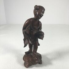 """Asian Carving Wood Handmade Unsigned Man Carrying Food 8"""" Tall"""