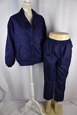 Evr Womens Medium Navy Blue Paisley Print Sweat Track Suit Zip Up Pants Set 2 Pc