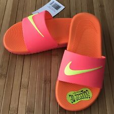 Nike Kawa Slide Preschool PS Sandal Hot Punch Volt Orange New Size 1Y
