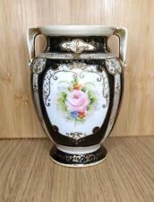 More details for noritake vintage handled vase floral black gold design (blue stamp 1908?)