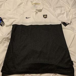 Army Black Knights West Point Nike White Gray Polo Shirt M Medium Dri-Fit NWT