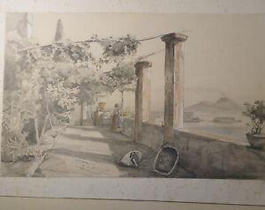 Disegno acquarellato e fissato su cartoncino Napoli dal Vomero 1847 (D138)