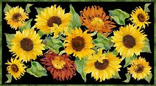 """Sunflowers Flowers of the Sun  Panel Quilt Fabric  24"""" x 43"""""""
