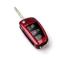 RED Carbon Fiber Car Auto Remote Key Case Cover For AUDI A6 TT A3 Q3 A1 A4 Q7 S3