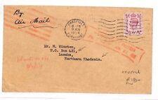 BG157 1954 GB RHODESIA AIRMAIL Yorks Wakefield *Insufficiently Prepaid* Lusaka