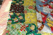 Christmas Descpicable Me Minion Lap or Baby Blanket Rag Quilt, Fleece Back