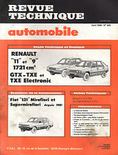 RTA revue technique automobile N° 443 RENAULT 11 TURBO 9 R11 R9 GTX TXE