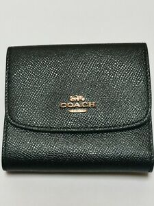 Coach Cross-grain Leather Trifold Small Wallet Black