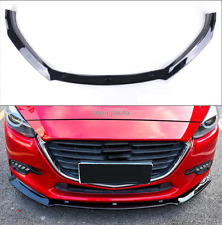 Gloss Black Front Bumper Lip Spoiler Cover Trim For 2017-2018 Mazda 3 Axela 3PCS