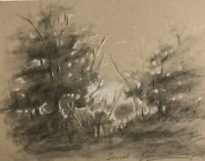 Trees Art Sunset landscape Painting pastel Charcoal artwork USA listed by Artist