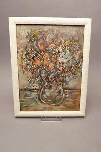 Fantast. Blumen Öl auf Holzplatte 18x24 monogramiert W.P.1990 Maler W.Pietal