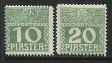 Austria Offices Turkish Empire 1908 10 & 20 piastres mint o.g. Postage Dues