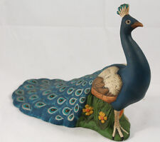 Vintage Holland Mold Ceramic Peacock Hand Painted Collectible Decorative 1974