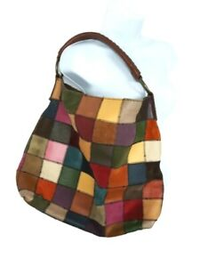 Lucky Brand Womens Vintage Inspired Leather Patchwork Large Hobo Shoulder Bag
