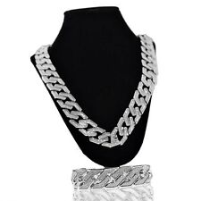 "Sand Blast Cuban Chain Silver Tone 30"" x 20MM Hip Hop Necklace & 8.5"" Bracelet"