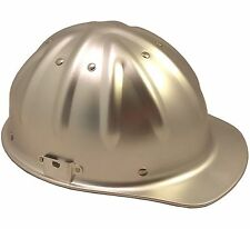 "Aluminum Cap Style Safety Hard Hat ""SILVER"" Ratchet Suspension Chin Strap CSAH"