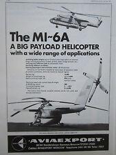 6/1976 PUB AVIAEXPORT HELICOPTERE MI-6A BIG PAYLOAD HUBSCHRAUBER ORIGINAL AD