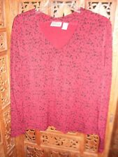 CHICO'S DESIGN Burgundy w/Black Abstract Print Long Sleeve Poly Knit Top Size 2