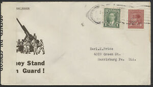 1943 They Stand on Guard! Patriotic Cover, Blackout Machine Cancel, Censored