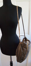 Vintage Karen 80's large leather bucket drawstring bag handbag crossbody USA