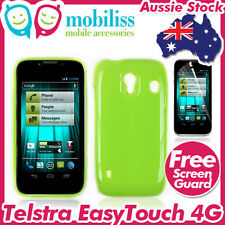 2Telstra EasyTouch 4G T82 Green Soft TPU Gel Jelly Case Cover + Screen Protector