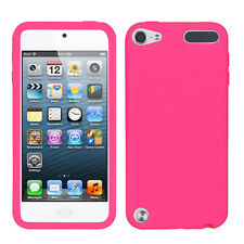 For Apple iPod Touch 5 5th Rubber SILICONE Soft Gel Skin Case Cover Hot Pink