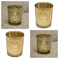 Gold Speckle Tea Light Votive Candle Holder 6.5cm x 5.5cm Glass - Choose amount