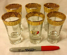 New 6 Lorenzo Gold Border Stemmed Shotter Glasses-ship free
