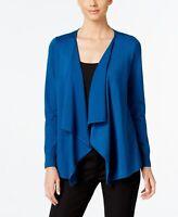 Thalia Sodi Women's Lace-Up-Back Flyaway Cardigan Blue Size Small