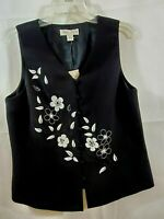 Black Vest Size 12 White Embroidery Lined Casual Corner