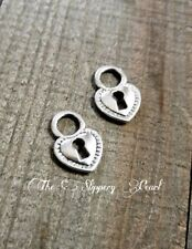 BULK Lock Charms Antiqued Silver 50 pieces Wholesale Heart Keyhole Steampunk