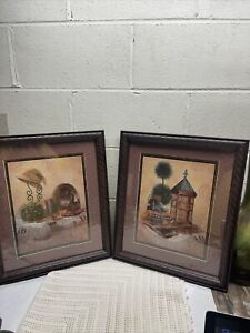 Set Of 2 HOMCO Vtg Bird Cage Camera Picture By J. Gibson Home Interiors Framed