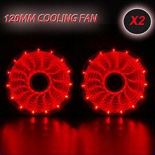 2pcs RED 120mm 15 LED Neon Light Quite 12V PC Computer Case Cooling Cool Fan Mod