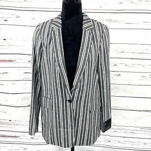 Banana Republic Women's Linen Blend Blazer Gray Stripes Size 8 New