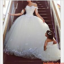 White Off The Shoulder Lace Appliques Ball Wedding Dress Princess Bridal Gowns