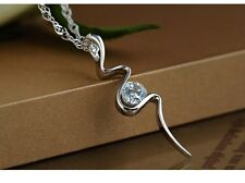 "Sterling Silver 4mm Cubic Zirconia Pendant Necklace 18"" Chain Gift Box C6"