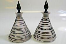 Vintage Steuben Scent/Perfume Bottles W/ Opalescent Glass & Black Swirl Design