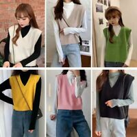 Womens Sleeveless Sweater Vest Jumper Loose Knitted Tank Top V-Neck Pullover