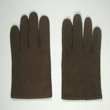 Mens Gloves Size 8 3/4 Leather 9 Inch Stitching Brown Stitch Black