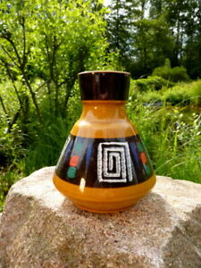 großartige Dümler & Breiden Design Keramik Vase 128 15 ockerbraun Vintage 60er
