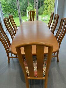 Skovby Danish Teak Extending Dining Table & 8 Chairs seats 10