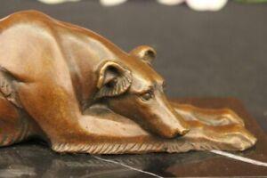 Vintage Bronze Metal Greyhound Whippet Dog Statue Sculpture Figurine Home Decor