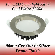 13 watt Dimmable Cool White Light LED Recessed Downlight Kit in Silver Frame