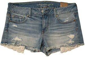 NWT American Eagle Size 10 Low Rise Shortie Stretch Distressed Lace