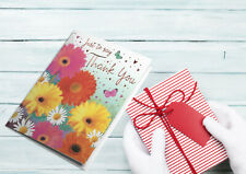 Thank you card painted flowers professionaly printed thank you card -pink