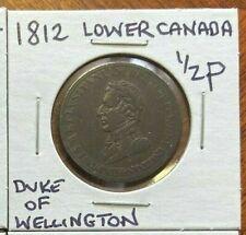 1812 Lower Canada Duke Of Wellington Half Penny Token