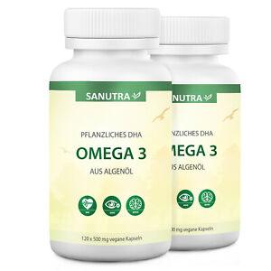 Sanutra® Omega-3 DHA aus Algenöl, 240 x 500 mg vegane Kapseln, 40% DHA + Vit E